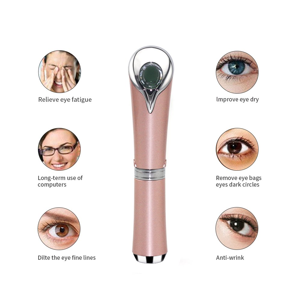 Beauty Care Eye Massager High Frequency Vibration Ionic Facial Infusion Device Eye Wrinkle Remover Relieves Dark Circles (rose gold) Ltd
