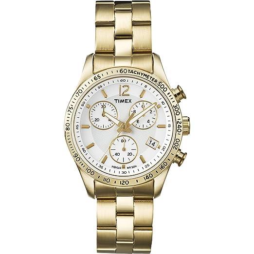 Timex Classic T2P058PF - Reloj de Cuarzo para Mujeres, Correa de Acero Inoxidable, Color Dorado: Amazon.es: Relojes