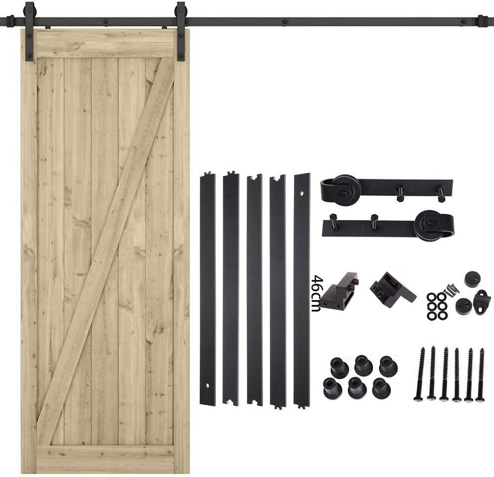 Kit de riel de puerta corredera, kit de riel de puerta de granero, kit de ferretería de madera industrial con rodillos y rieles para puertas correderas (1,5 m)