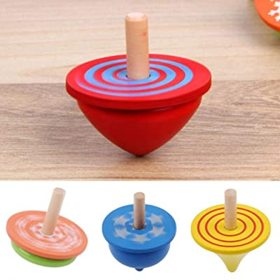 Kekailu Wooden Gyro Toy,4Pcs Colorful Wooden Desktop Spinning Top Peg-Top Gyro Toy Children Kids Gift: Home & Kitchen