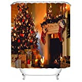 ALDECOR Mildew Resistant 3D Shower Curtain - Christmas Tree and Fireplace Pattern Water-Repellent & Anti-bacterial Shower Curtain 72x80 Inch