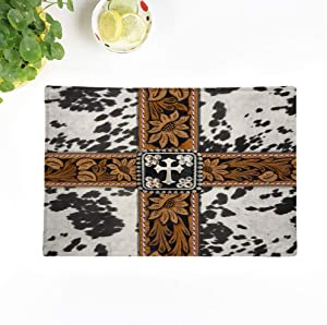 Topyee Set of 6 Placemats Old Cowhide Silver Cross Straps West Southwest Western Designs 18x12.5 Inch Parties Decor Non-Slip Washable Place Mats for Kitchen Dinner Table Mats