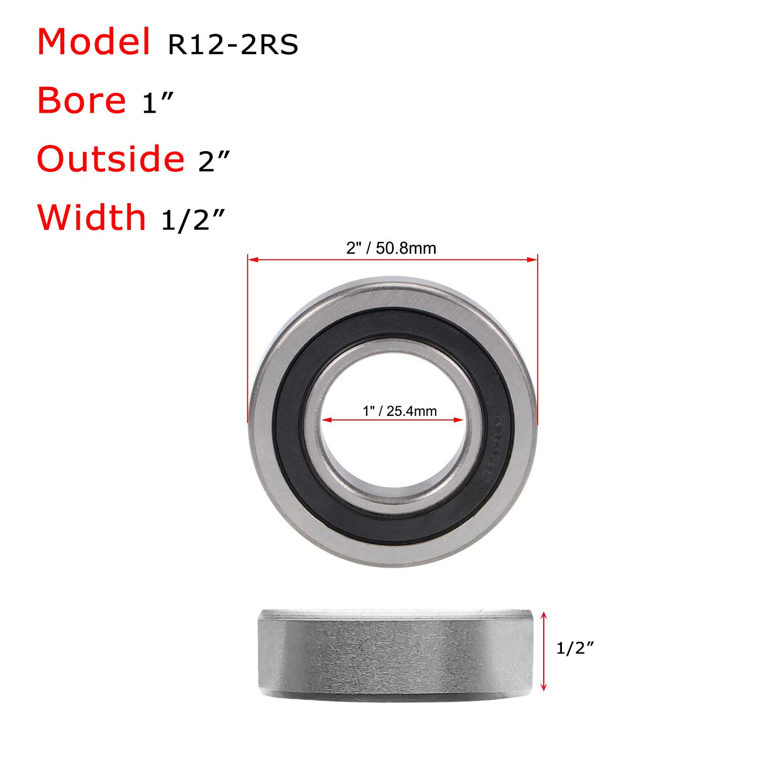 Donepart R16-2RS Bearings 1 Inch ID x2 Inch OD x1//2 Thick C3 High Speed Pre-Lubricated and Double Rubber Sealed Ball Bearings 2 Pcs
