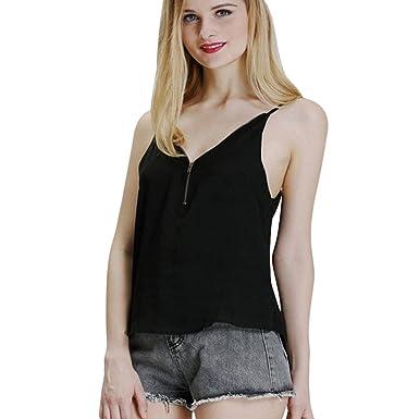 Weant Femme Camisole Été Femme Lady sans Manches V-Neck Couleur Pure  Fermeture éclair Vest 3edbdc24c80c