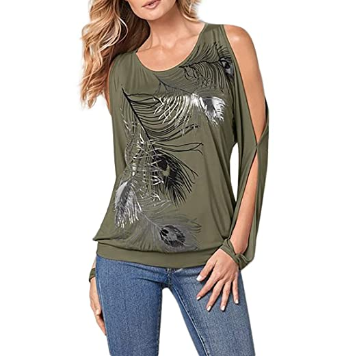 941fc8899b755 Transer- Womens Peacock Feathers Printed Cold Off Shoulder Long Sleeve T- Shirts Tee Shirt