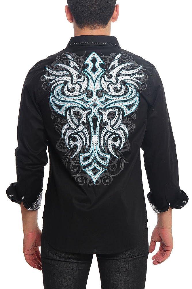Victorious Tribal Cross Tattoo Button Up Shirt SH436