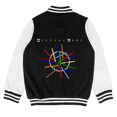 Boys Girls Varsity Letterman Baseball Jacket School Creative Rock Band Logo Design Sweatshirt Coat Cotton Top