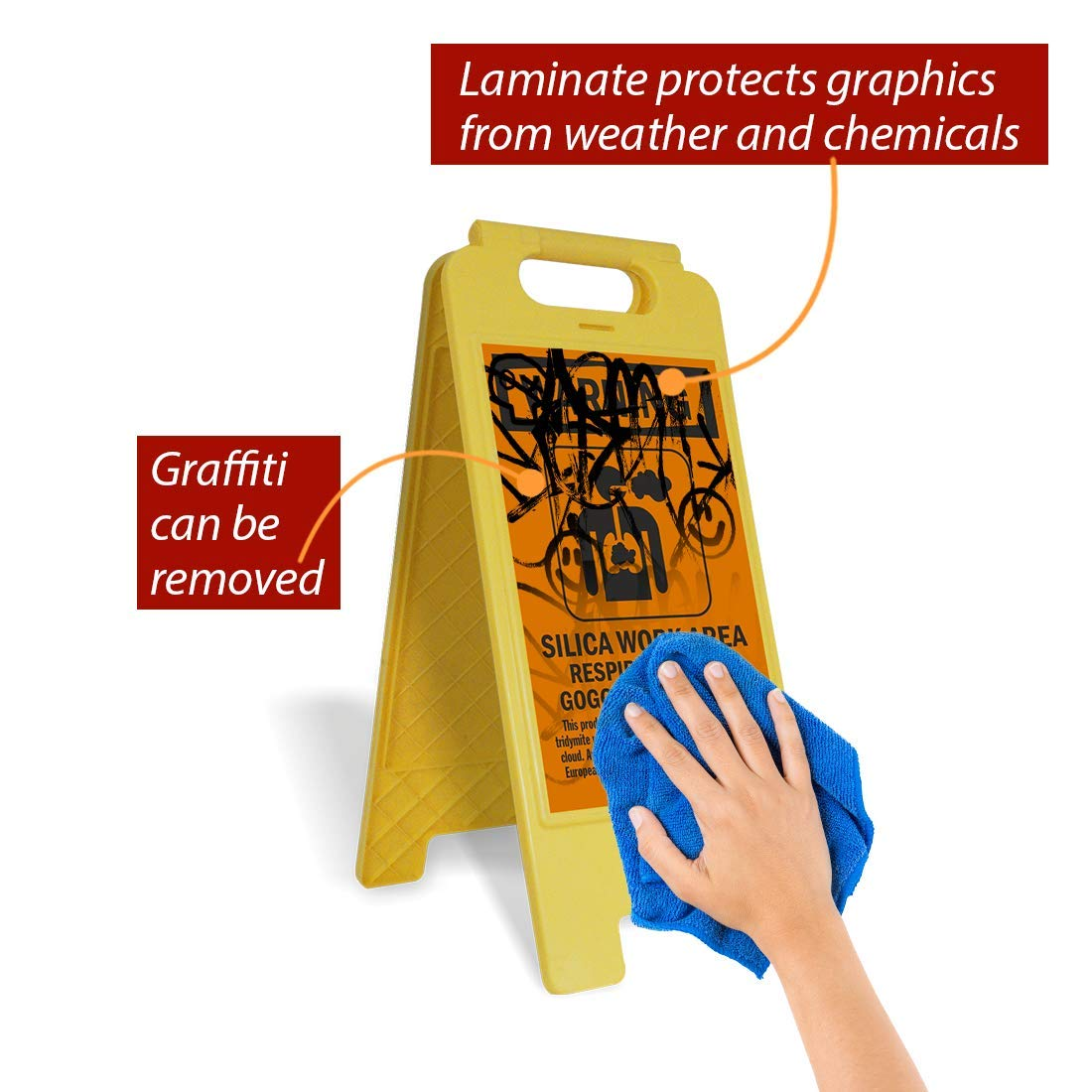 Legend Silica Work Area Respirator and Goggles Required with Graphic Black on Orange Legend Silica Work Area Respirator and Goggles Required with Graphic 25 high x 12 wide Lyle Signs SF-0268-FB-25x12 SmartSign Folding Floor Sign 25 high x 12 wide