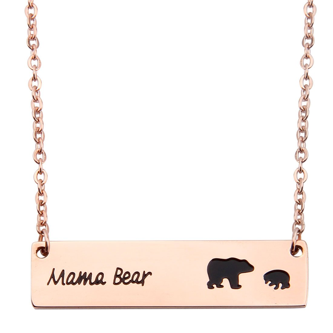 Ensianth Honey Family Mama Bear Bar Necklace Gifts for Mother's Day CA-OW-018