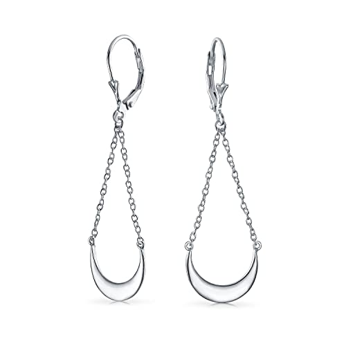 be2cc3a28bd Amazon.com: Minimalist Geometric Chain Drop Crescent Half Moon Leverback  Dangle Earrings For Women For Teen 925 Sterling Silver: Jewelry