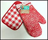 Pioneer Woman Oven Mitt & Pot Holder Red (Bandana, Polka Dot & Plaid Design) 2 pc Set