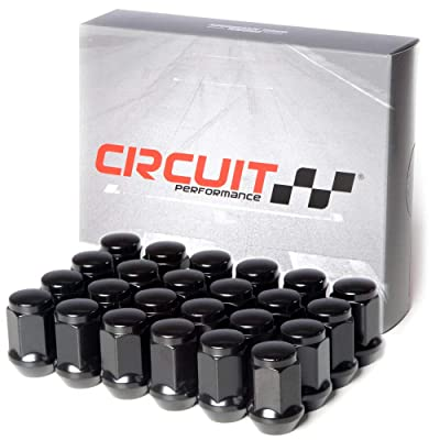 Circuit Performance 12x1.25 Black Closed End Bulge Acorn Lug Nuts Cone Seat Forged Steel (24 Pieces): Automotive