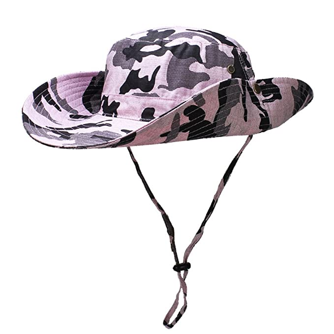 a0c1581d0109b5 YX Camouflage Multifunctional Outdoor Cowboy hat Wide Brim Caps Sun Block  Collapsible Hats Fishing/Golf
