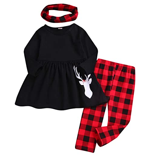 3a2fff2f528f3 Toddler Girls 3 Pc Hi Lo Christmas Holiday Ruffle Tunic Outfit, Scarf,Buffalo  Plaid