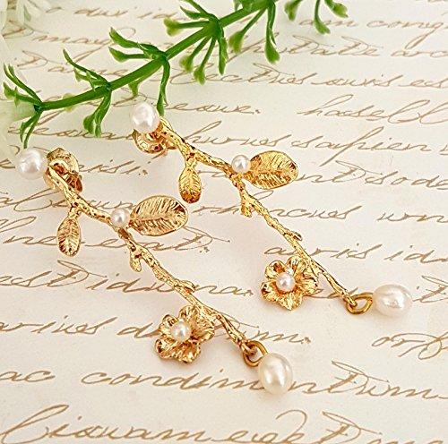 Twig Gold Pearl Bridal Earrings ()