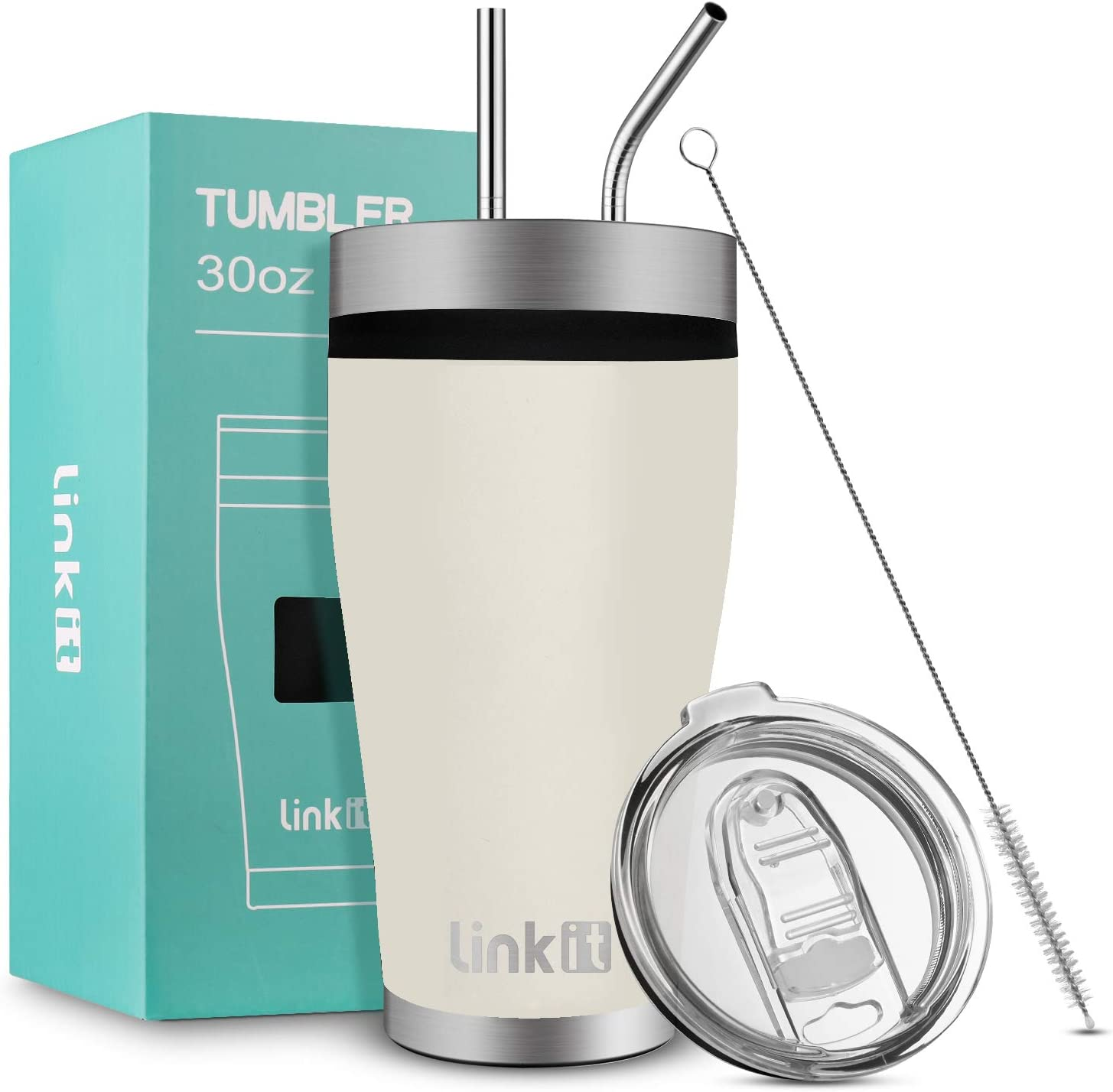 Linkit 30oz Tumbler with Slider Lid & Straws - Travel Mug Vacuum Insulated Coffee Cup - 18/8 Stainless Steel Water Bottle - Sand