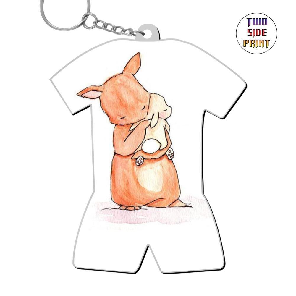ringkyo Printed Rabbit Mommy & Baby World Cupパターンキーリング B07CGBF5ZN