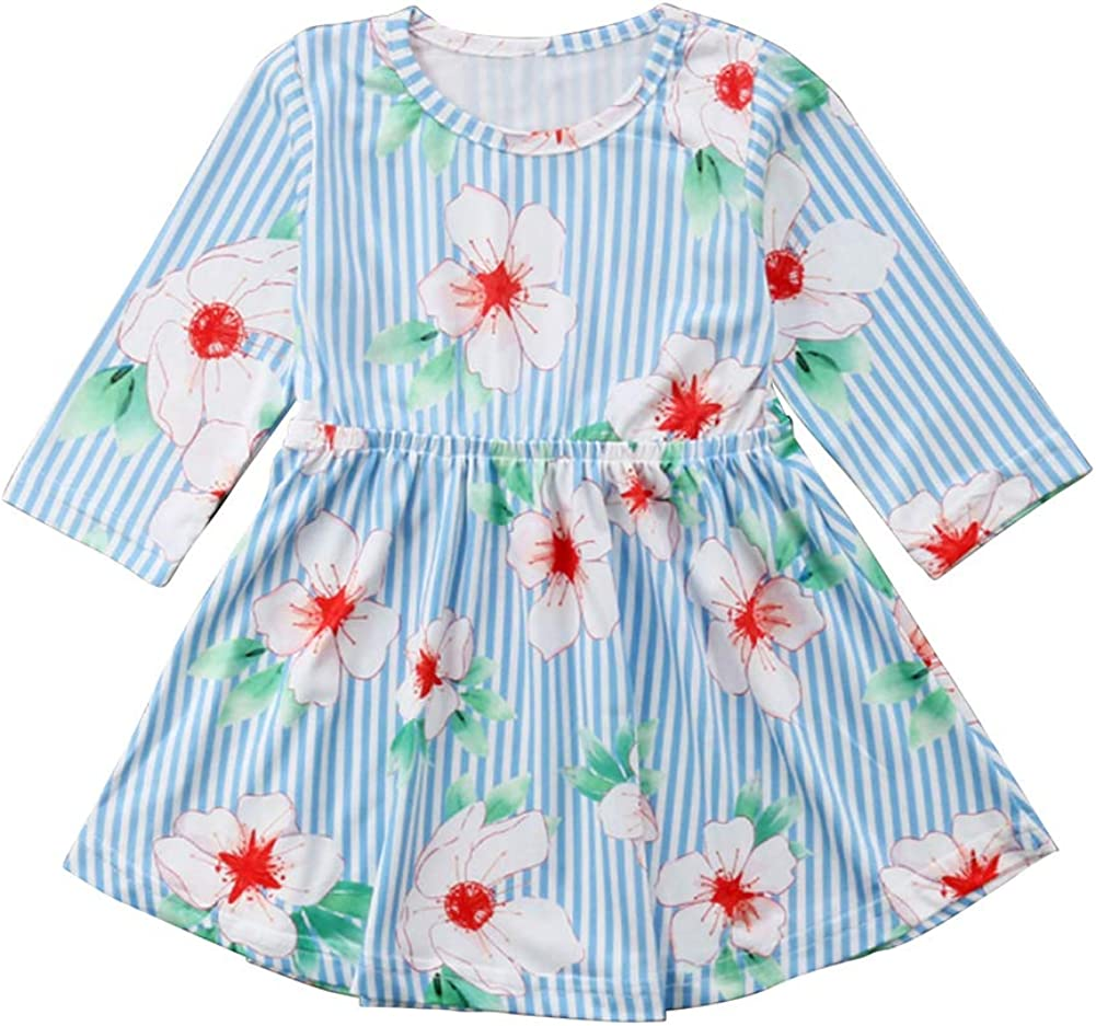chinatera Little Girls Floral Dresses Toddlers Long Sleeve Ruffle Skirt Party Dresses Clothes Fall