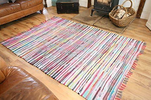 Boho Rugs Alfombra India Mano Tejidas Reciclado algodón Multicolor (150 cm x 90 cm): Amazon.es: Hogar