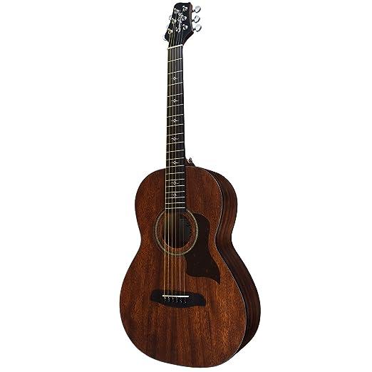 Diente de Sierra serie de caoba sólida caoba parte superior guitarra electroacústica Parlor Guitarra con carcasa rígida y Pick Sampler: Amazon.es: ...