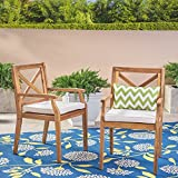 Great Deal Furniture   Peter   Outdoor Acacia Wood Dining Chair with Cushion   Set of 2   Teak/Cream For Sale