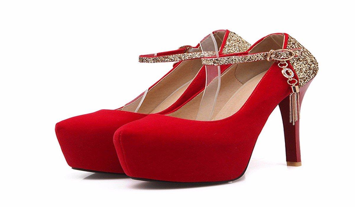 GTVERNH GTVERNH GTVERNH Damenschuhe Rote Wedding Schuhe Gut mit 13Cm High Heels Runden Kopf Toast Braut Hochzeit Schuhe der Frühling. dc90bd