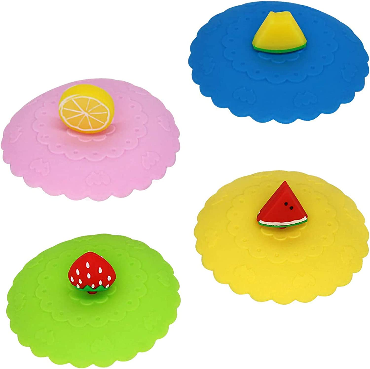 4 Pack Food Grade Silicone Cup Lids, Anti-Dust Creative Fruit Glass Cup Cover Coffee Mug Suction Airtight Seal Lid Cap