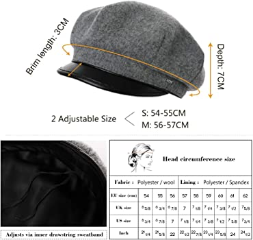 78179816480 Womens Newsboy Cap Baker Berets Fisherman Conductor Greek Hat Winter Woolen  Sailor Fiddler Casual Fashion Cancer Satin Amazon Black Small at Amazon  Women s ...