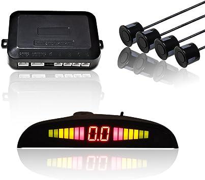 LCD Parksensor Einparkhilfe Rückfahrwarner mit 8 Sensoren in Schwarz Parkhilfe