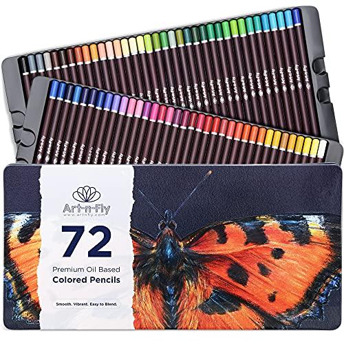 72 lápices de colores pastel a base de aceite en caja metal