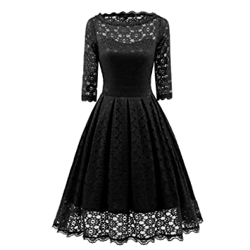 Women Long Dress Daoroka Womens Sexy New Vintage Lace Half Sleeve Formal Patchwork Wedding Dress Cocktail