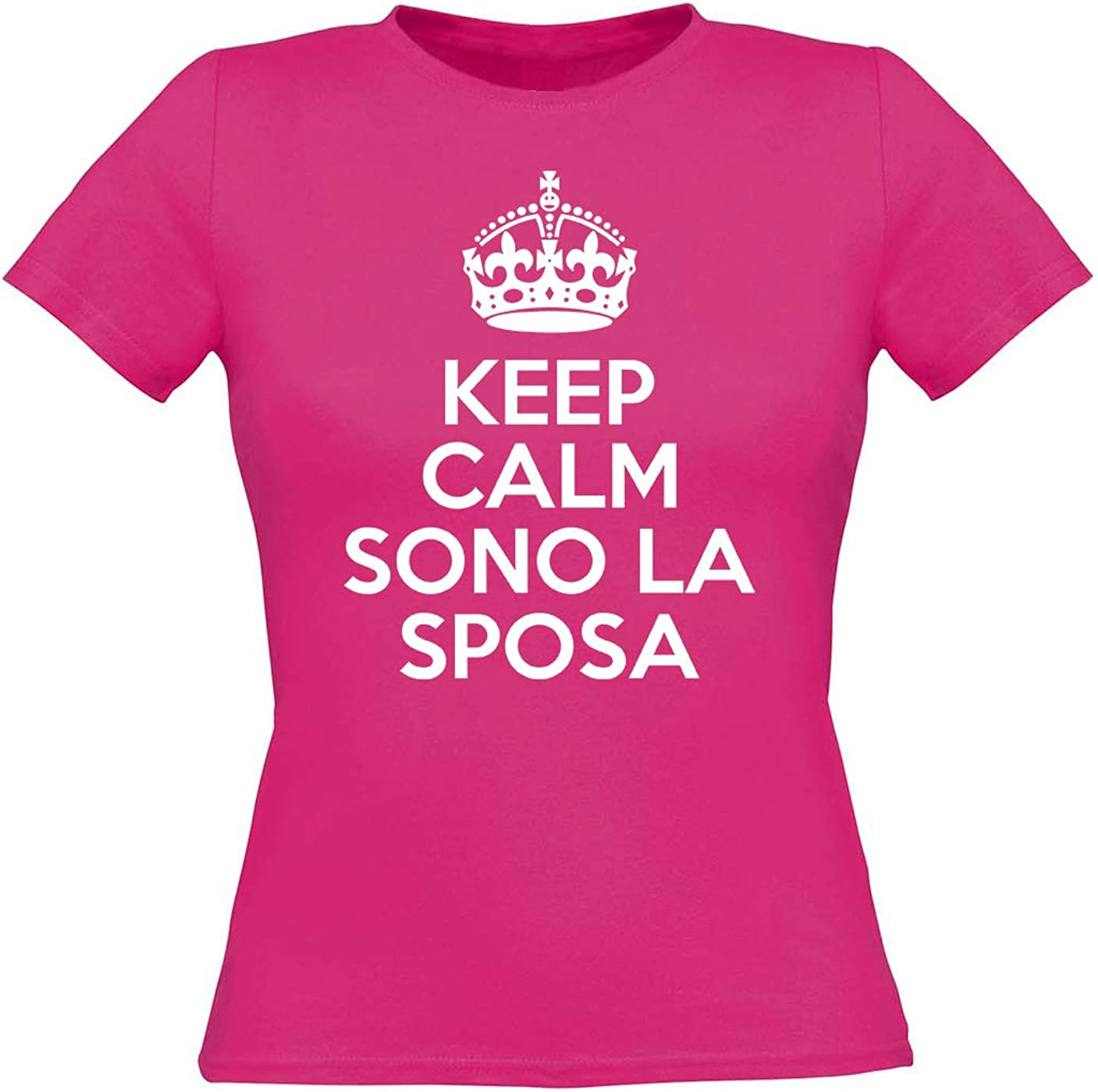 Fashion Graphic T-Shirt Donna Keep Calm Sono la Sposa Matrimonio Addio Nubilato