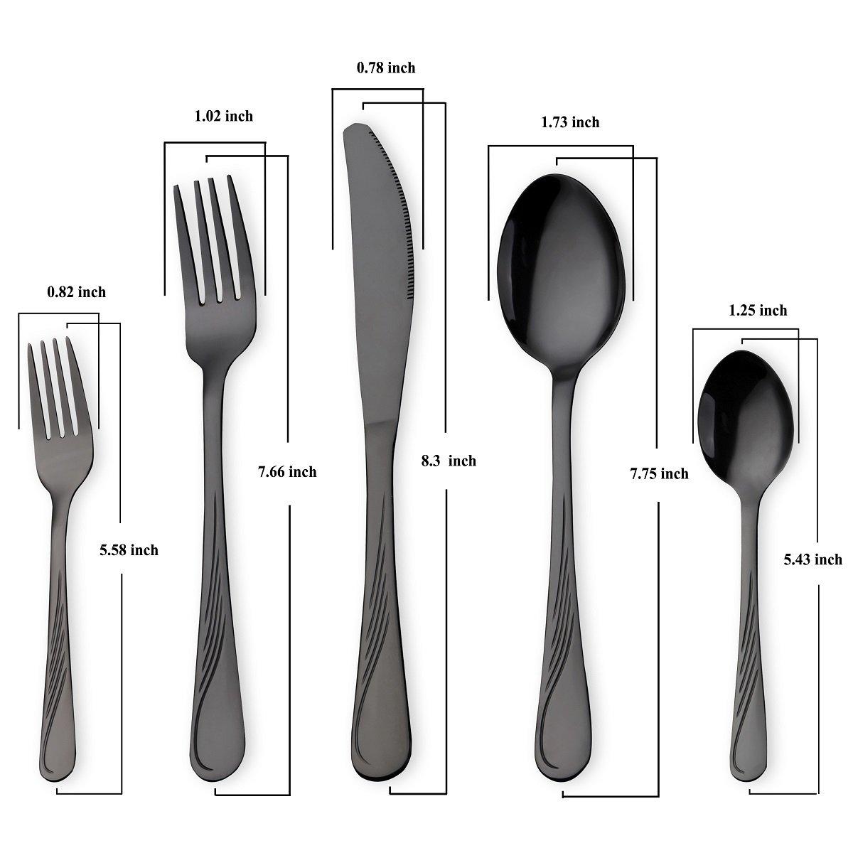 HOMQUEN Juego de cubiertos de acero inoxidable de 30 piezas, juego de cubiertos negros, cuchillos, cucharas, cucharas, set de 6 personas (negro, ...
