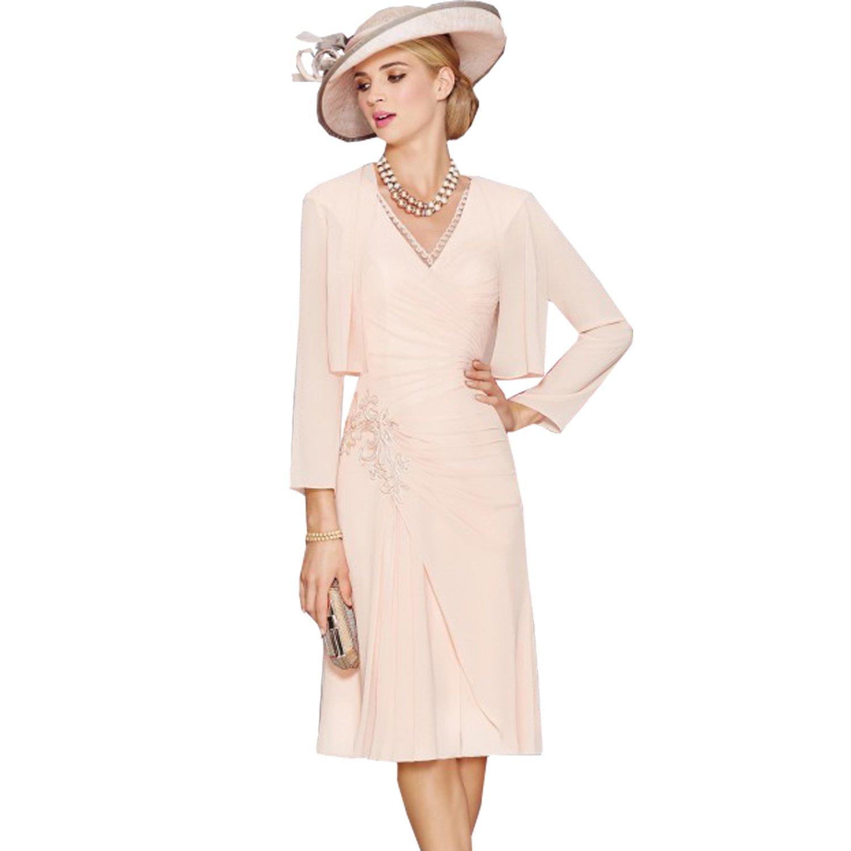 dressvip Pink V-Neck Knee Length Chiffon Formal Dresses With Long Sleeves Jacket