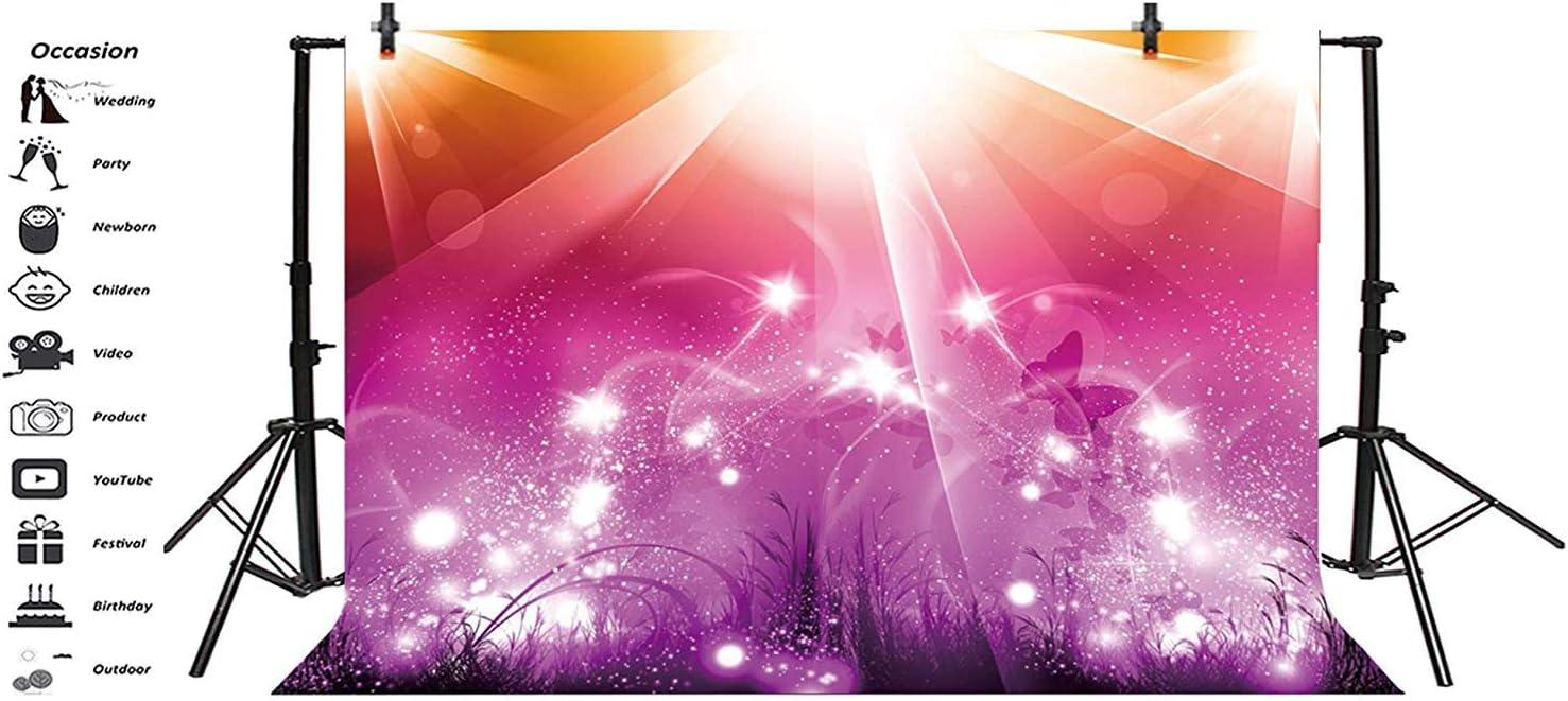10x8ft Dreamlike Colorful Stage Backdrop Vinyl Dreamy Interlaced Spotlights Lightspots Butterflies Plants Orange Rosered Purple Background Performance Live Show Kids Child Adult Girl Shoot