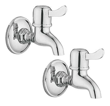 Oleanna Magic Brass Quarter Turn Fittings Bib Cock Short Body Taps For Bathroom (Chrome Finish) (Pack Of 2 Bib Cock)