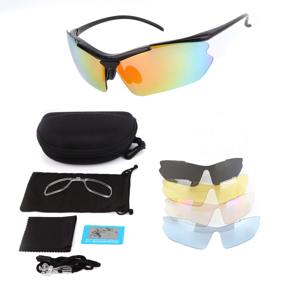 Polarized Sports Sunglasses, KEMIMOTO Motorcycle Rider Glasses With 5 Lenes Kits for Men Women Cycling Running Driving Fishing Golf Baseball Glasses
