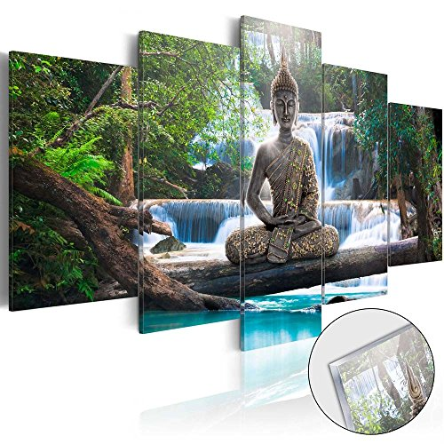Wall Art Painting Decor Zen Decorations for Home Buddha Landscape Artwork Pictures Bedroom (Green, over size 40''x20'') ()