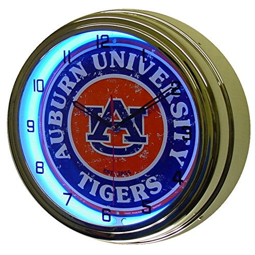 Auburn University Tigers Logo Sign Neon Lighted Wall Clock Chrome Blue ()