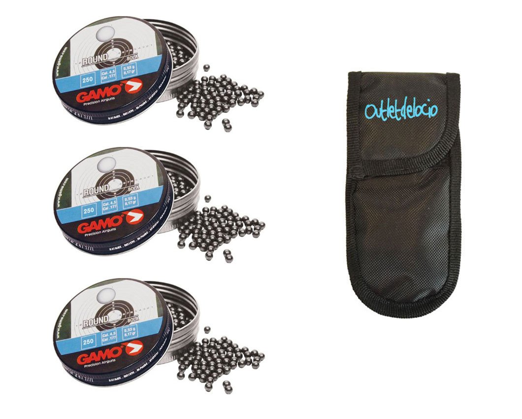 Outletdelocio. 3 latas de 250 perdigones Gamo Round Bola 4,5mm. + funda portabalines. 3-50523/23054