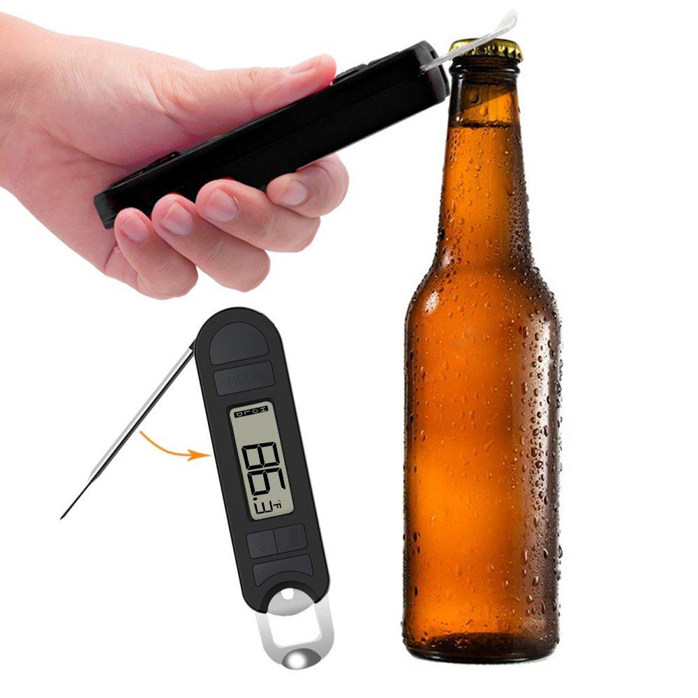 Shackcom EN392 Javelin Digital Instant Read Food Meat Thermometer For Grilling (Black), Take Bottle Opener, Include TWO BATTERY