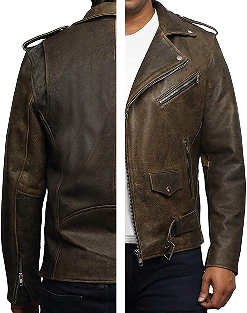 BRANDSLOCK Mens Genuine Leather Biker Jacket Cowhide Brando