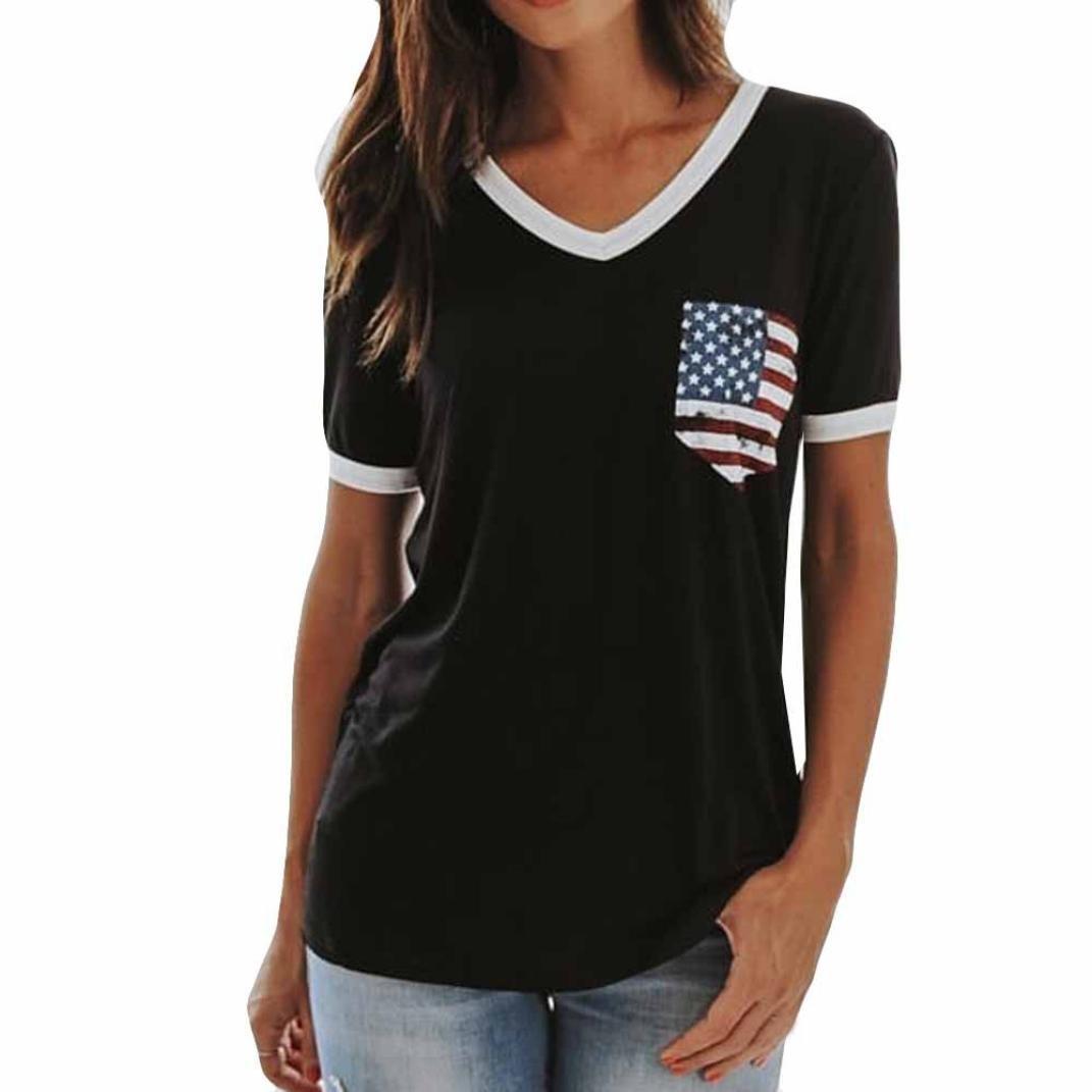 Hometom Womens Raglan Short Sleeve V Neck Patriotic American Flag Pocket Baseball Shirt Blouse Top (Black, XL)