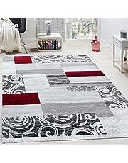 Designervloerkleed Woonkamerinterieur Bloemenpatroon Gemêleerd Lichtgrijs/Rood, Maat:80x150 cm
