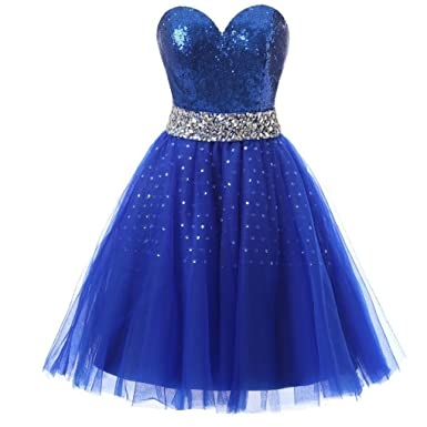 90787153d36 kxry Women s Sparkly Sequined Royal Blue Cocktail Dress Short Prom Gown ...