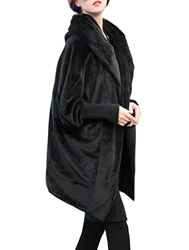 ELLAZHU Women Winter Hooded Plus Size Batwing Fleece Woolen Coat DY114