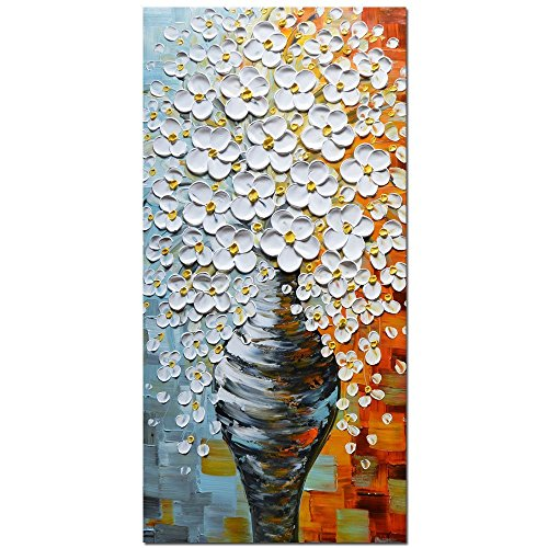 SoulSpaze Asdam Art - 100% Hand Painted 3D Oil Paintings On Canvas Ready to Hang White Vase Pictures Home Decoration Large Wall Art Woods Framed Stretched Artwork