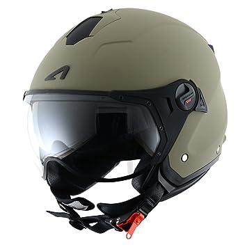 Astone Helmets MINISPORT-MARL Minijet Sport - Casco de motocicleta, Verde Mate, L