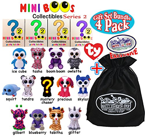 TY Mini Boos Hand Painted Collectible Figurines Series 2 Blind Box Gift Set Party Bundle with Bonus Matty's Toy Stop Storage Bag - 4 Pack ()