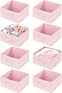 mDesign Soft Fabric Closet Storage Organizer Bin Box - Front Handle, for Cube Furniture Shelving Units Bedroom, Nursery, Toy Room - Polka Dot Print - 8 Pack - Pink/White